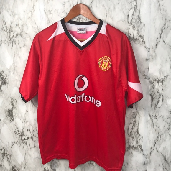 76f41960a Vintage Vodafone Manchester United Jersey Soccer. M 5b48a38d3e0caad42db06163